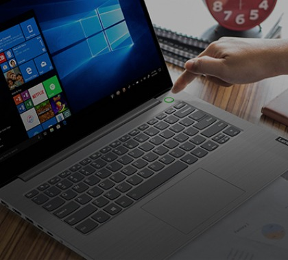 turning on a lenovo thinkbook business laptop